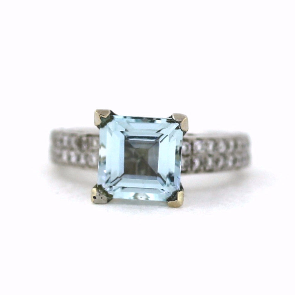 80 Round Brilliant = .75tw 2.67 Princess Cut Aquamarine 5.1gr 14K White Gold Lady's Ring SMNT1375