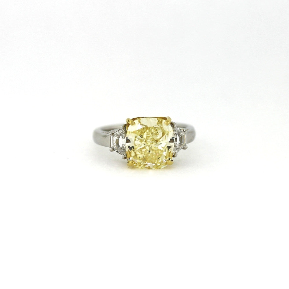 5.08 ct. Cushion Cut Fancy Yellow SI1 and 2 Trapezoids = 0.52ct G SI1, 18K Gold & Platinum Diamond Ring GIA # 5141314766 SMNT1379 FC2344