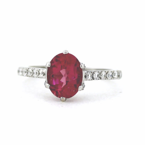 48 Round Brilliant = .45cts 2.30 Pink Tourmaline Size 6.5 18K White Gold Lady's Ring SMNT1416