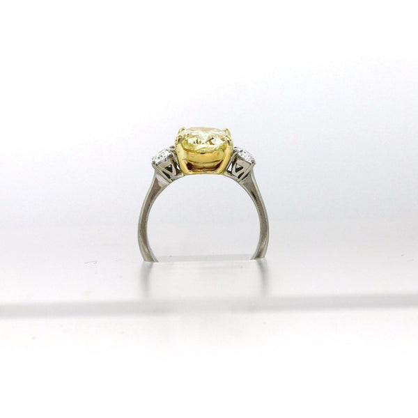 2 Oval =.80ctw & 3.55 Fancy Yellow VS2 GIA = 5131390667, Platinum and 18K Gold Lady's Ring SMNT1581, FC2196