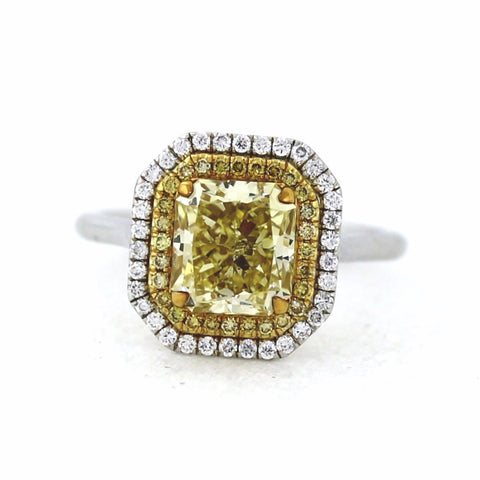 57 Round Brilliant Diamonds = .30 & 28 Fancy Yellow =.15 2.71 Fancy Yellow SI3 GIA = 1132167574, Two Tone 18K Gold Lady's Ring SMNT1753, FC2167
