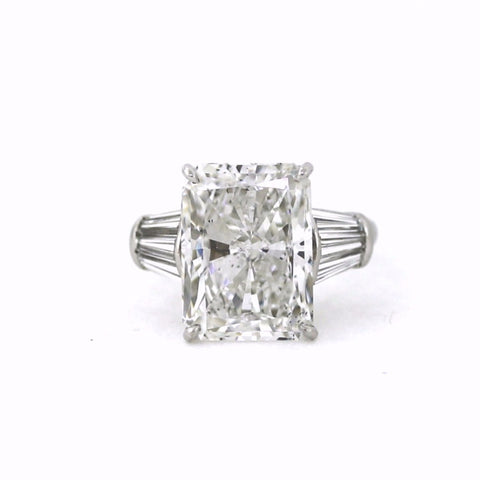 Radiant Cut Diamond 10.04 ct F SI1 and 6 Tapered Baguettes = 1.20 ct, Platinum Ring GIA # 2165173951 D16110 SMNT1882