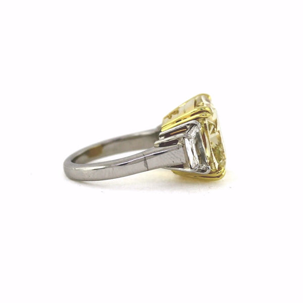 Cushion Cut Diamond 15.06 ct Fancy Yellow VS2 and 2 Trapezoids = 1.21 ct, Platinum and 18K Yellow Gold Ring GIA # 6157606348 FC2320 SMNT5088