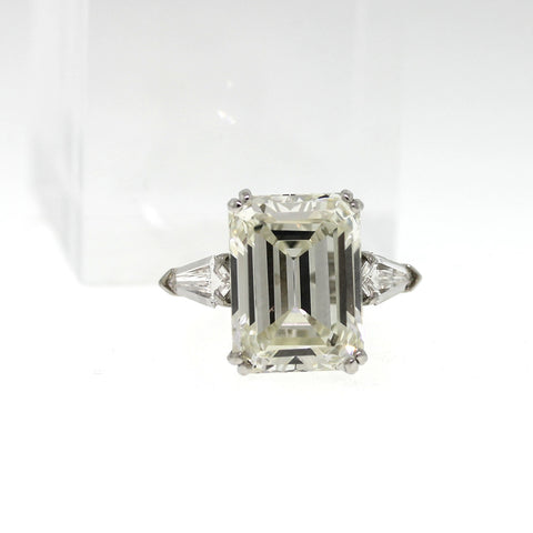 Emerald Cut Diamond = 12.57 ct VS1 L and 2 Shields, Platinum Ring GIA # 2155746063 DX0744 SMNTX0024