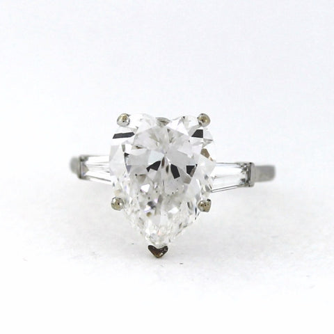 Estate 2 Tapered Baguettes = .30 4.33 E VS2 GIA = 12216840, Platinum Lady's Ring SMNTX029, DX0605