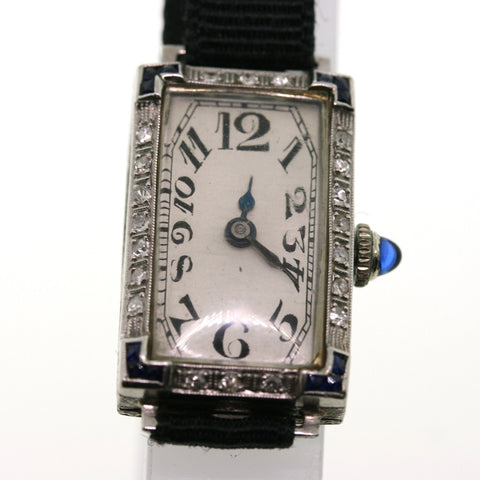 Estate Hafis W. Co. Antique engraved MMG 50844, 18K White Gold Watch WA0070