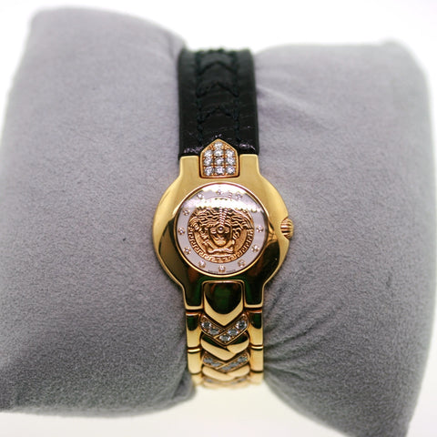 Estate Gianni Versace 364 8019924 lds. Leather Strap Deployant Buckle 18K Yellow Gold WA0082