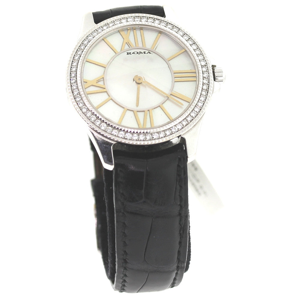 Estate Roma Mother of Pearl dial Diamond Bezel faceted crystal 18K White Gold WA0088