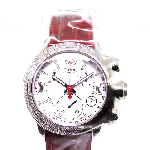 Estate Pippo Perez Cabochon 76 Round Brilliant = .76 Ret $4950 red strap 033-0167 Stainless Steel WA0150