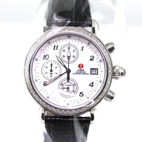Estate Michele CSX Diamond Chrono .64ctw Mother of Pearl dial Black lizard strap Ret$1895 A08747ss Stainless Steel WA0152