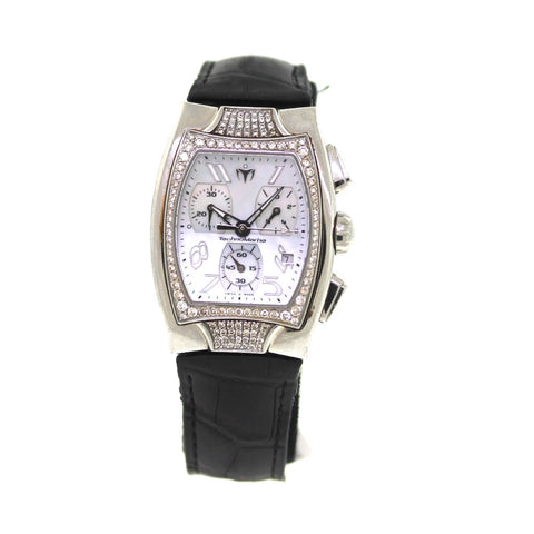 Estate Technomarine Chrono Mother of Pearl Dial Diamond Case TS 23912 Stainless Steel WA0215