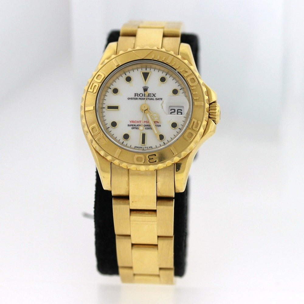 Estate Rolex Lds. Yacht Master T914690 Circa 1996 Box and Papers 18K Yellow Gold WA0258