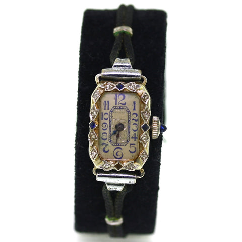 Estate Sapphire / Diamond Belais Watch 16 Jewels Hafis W. Co. movement Engraved case Catherine, 18K White Gold Watch WA0288
