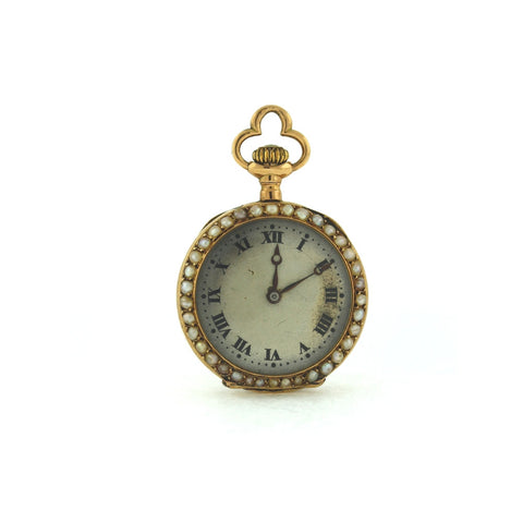 Estate Longines Pocket Watch 290476 Mvt#3064520 Pearl Back & Bezel SWISS 14K Yellow Gold WA0300
