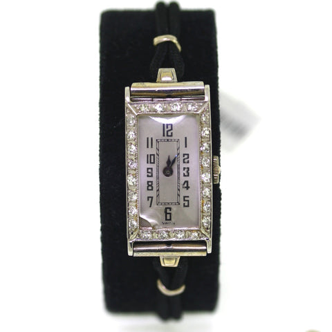 Estate Vintage Mimo Watch Co. Diamond Bezel Swiss 14.30gr, Platinum Watch WA0301