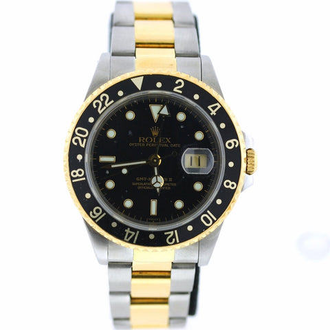 Estate Rolex GMT Black/Black 16713 A156677 Box and Papers Stainless Steel & 18K Gold WA0494
