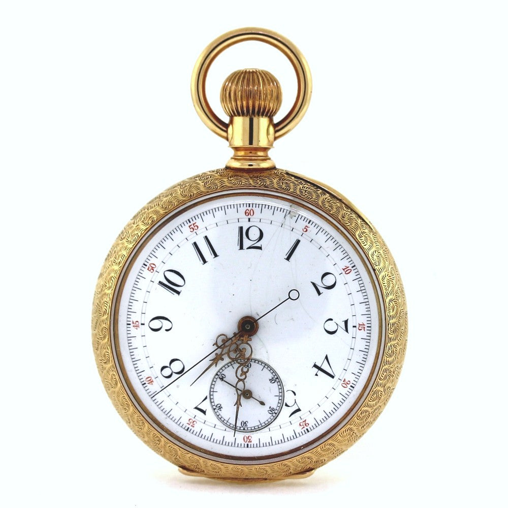 Estate Horse Pocket watch w/ Diamonds Porcelain dial Switzerland #89893 117g Three Tone 14K Gold WA0514