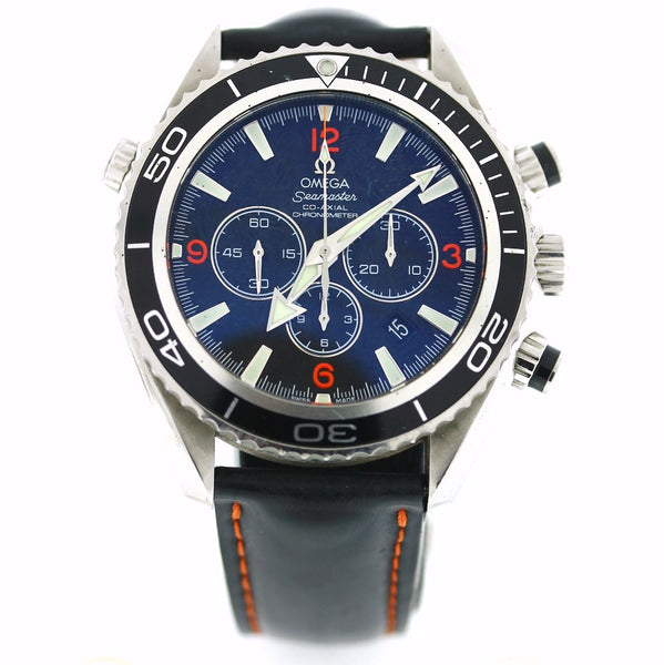 Estate Omega Seamaster 600m Chrono Black dial leather strap 78419420 Box and Papers Stainless Steel WA0522