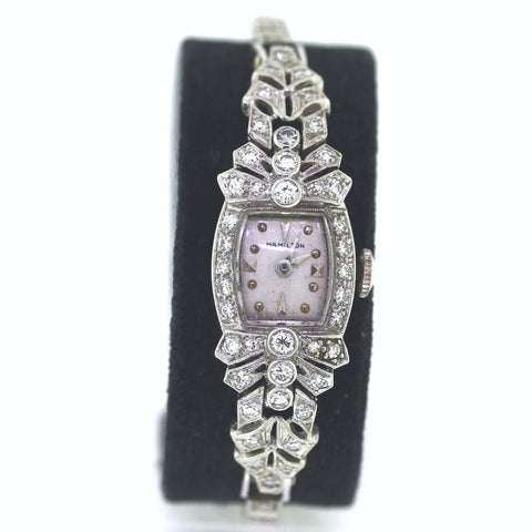 Estate Hamilton 858968A Diamond case/bracelet, Platinum Watch, WA0532