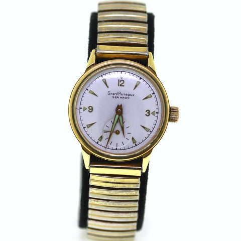 Estate Girard Perregaux Sea Hawk White Dial 51gr ss back *No Box and Papers 14K Yellow Gold WA0535