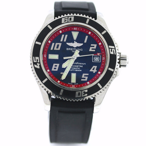 Estate Breitling Super Ocean A17364 No Box and Papers Black/RED RUBBER STRAP Stainless Steel WA0542