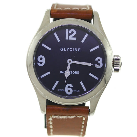 Estate Glycine Incursore Black Dial Brown Strap Extra Black Strap Stainless Steel WA0550