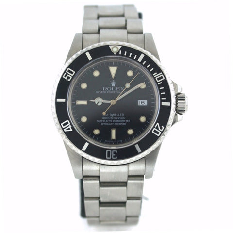 Estate Rolex Sea Dweller 4000 Blk/Bk #8269703 NO Box and Papers, Stainless Steel Watch, WA0619
