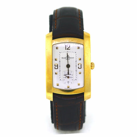 Estate Baume & Mercier Tiffany & Co. Hampton MV045224 Srl. 3191600 Deployant Black, 18K Yellow Gold Watch, WA0628