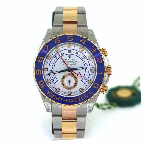 Rolex 44mm Yacht Master ll White Dial Style 116234 Srl. Q01741A8 NEW Box and Papers, Stainless Steel and Rose Gold Watch, WA0636