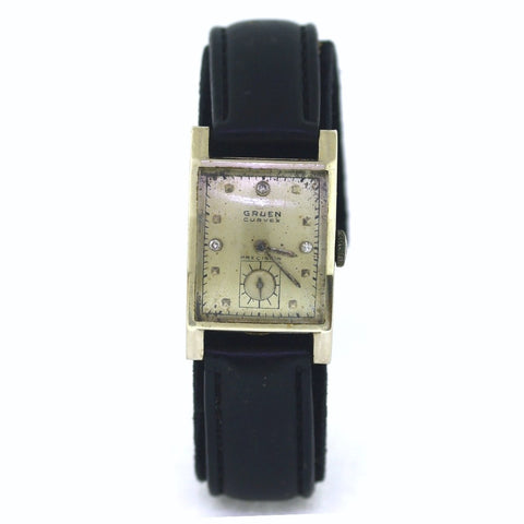 Estate Gruen Curvex Manuel wind Srl. 355826 Leather strap No Box and Papers, 14K White Gold Watch, WA0662