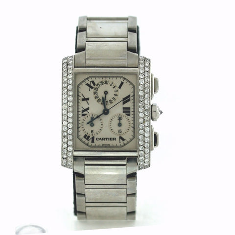 Cartier lg chrono tank France, afermarket Diamond Bezel Watch, WA0667