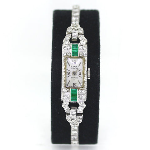 Estate Vintage Eloga Watch Emerald & Diamond 21.32gr Platinum Watch WA0735