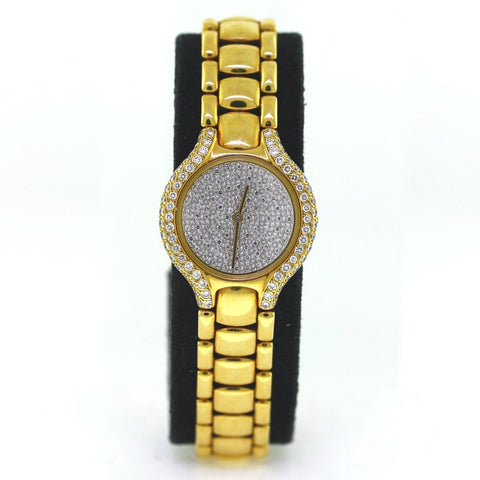 Estate Ebel Beluga DD DC 120 Diamonds = 1.10ctw 42116499 33K Retail 18K Yellow Gold Watch WA0740