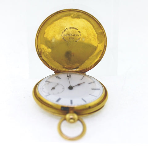 Estate Arnold Nicoud Key-Wind Pocket watch Srl# 29886 Chaux-De-Fonos Hunter Case Swiss 18K Yellow Gold Watch WA0743