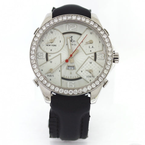 Estate Jacob & Co. 5 Time zone Diamond Bezel 3.00ctw 47mm No. 876 No BAP Stainless Steel Watch WA0760