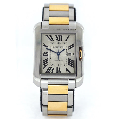 Estate Cartier Tank Anglaise Srl. 201966SX 3511 Retail $9100. NO BAP 18K Gold and Stainless Steel Watch WA0798