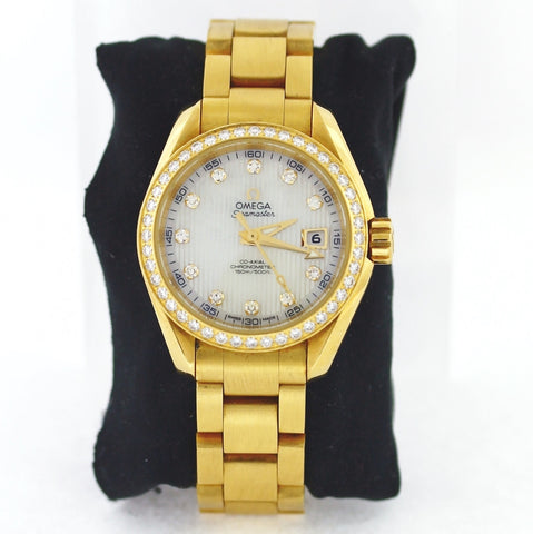 Estate Omega Diamond Seamaster Aqua Terra Mop Dl #84740309 128.6gr No BAP Retail $30,300. 18K Yellow Gold Watch WA0799