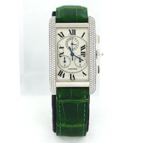 Estate Cartier Tank Americaine Chrono Ref 2339 Qtz. Case # 259087CD Green Alligator Strap Dep. Bkl 18K White Gold Watch WA0802