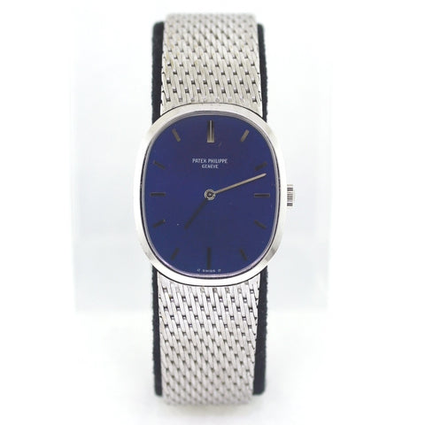 Estate Patek Philippe Ellipse 3548 27mm Blue Dial Mesh Bracelet 18K White Gold Watch WA0803