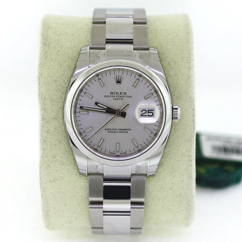 Rolex Date 34 Silv. Dial Domed Bez. Srl Y742V163 RETAIL 6,300. NEW BAP Stainless Steel Watch WA0807
