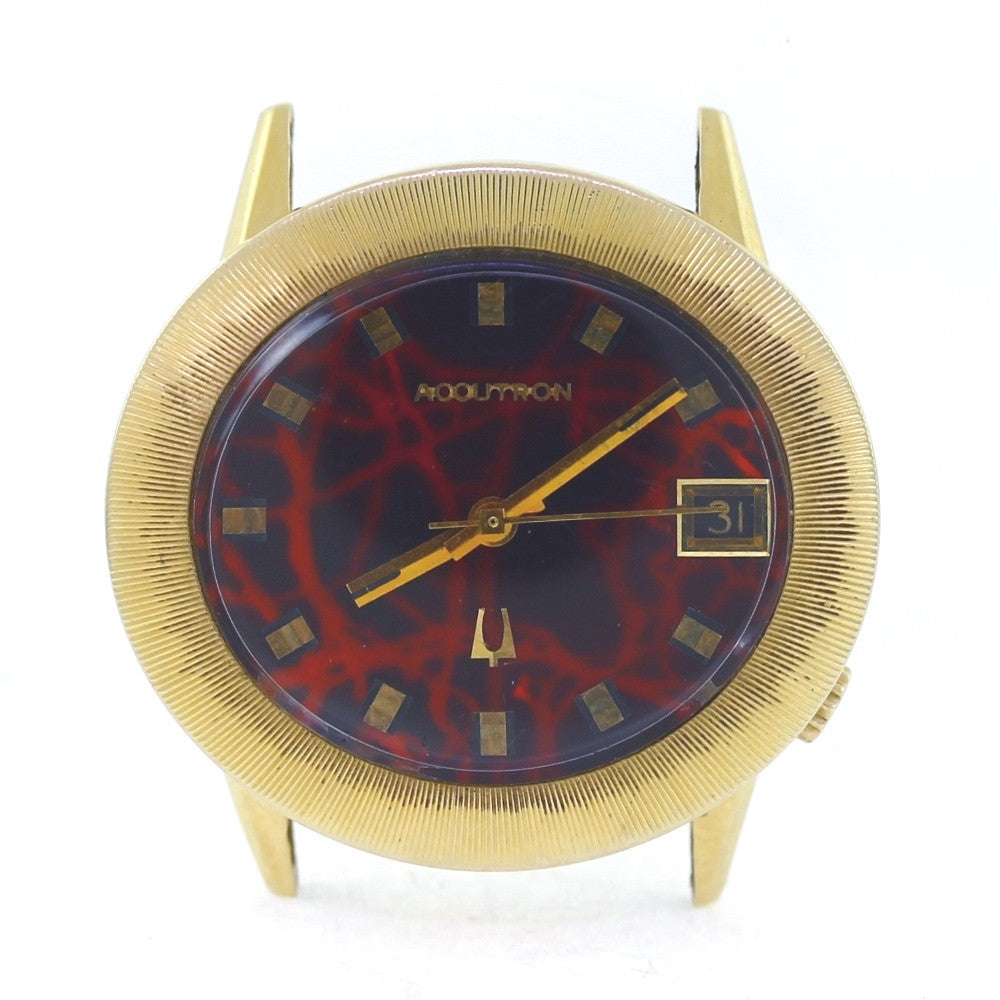 Estate Bulova Accutron Oval 1971 Vintage Red Marble Dial Date Just 14K Yellow Gold Watch WA0813