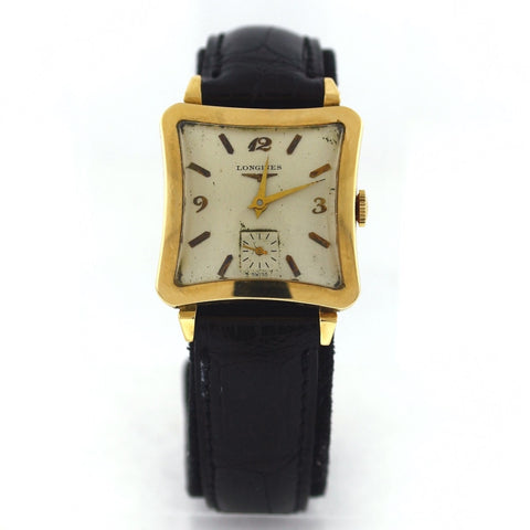 Estate Vintage Longines Square Curvex Case A-89242 Manual wind with second hand No Box or Papers 14K Yellow Gold Watch WA0814