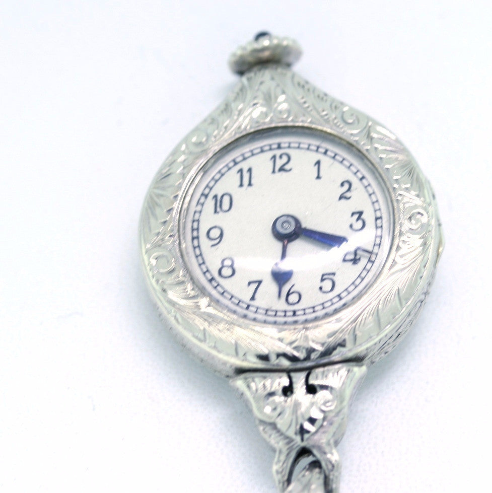 Estate Pendant Watch .05ct hand engraved 14K White Gold WCH1260