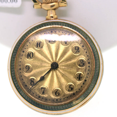 Estate  14K Yellow Gold Watch Pendant Guilloche Diamond Enamel Approx.Wt. WCH1261