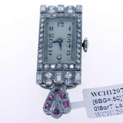 Estate 6 Baguettes = .50 40 Round Brilliant Diamonds = .50 8grT La Fond Inc 14038, Platinum Watch WCH1297