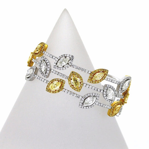 3.94ct Fancy Yellow Diamond Marquise 8 Stones &  3.93ctw Diamond Marquise 7 Stones 18K 2 Tone Gold 26.76gr Bracelet 467 Round Diamonds=5.37ctw BR1622