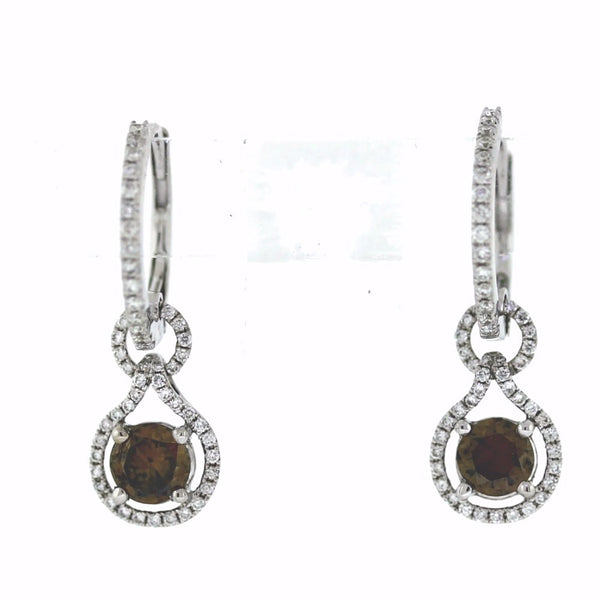 110 Round Brilliant = .37 2 Round Brilliant = 0.70ct Fancy Brown 2.95gr 18K White Gold Earrings ER2255