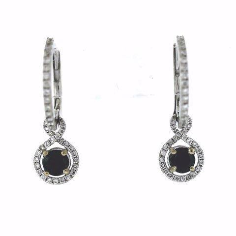 87a0681b4a082 80 Round Brilliant   .33ctw Sapphire 2.42gr 18K White Gold Earrings ER2259