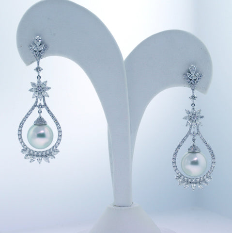 Marquise = 2.11 South Sea Pearl = .49 Round Brilliant = 2.48 12mm Pearls 18K White Gold Earrings ER2388