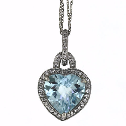 3.32ct Aquamarine Heart &  0.40ctw Diamond Round Brilliant 86 Stones 18K White Gold Pendant GDI3247